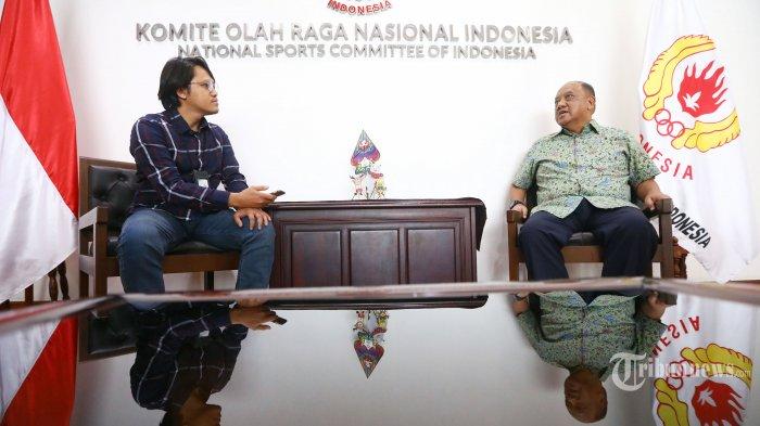 Ketua KONI Pusat periode 2019-2023 Marciano Norman menjawab pertanyaan saat melakukan wawancara khusus dengan Tribunnews.com di Kantor KONI Pusat, Jakarta, Kamis (11/7/2019). TRIBUNNEWS/IRWAN RISMAWAN