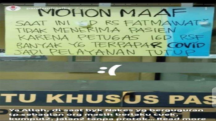 Hoax! Info IGD RS Fatmawati Tak Terima Pasien karena Banyak Petugas Terpapar Covid-19