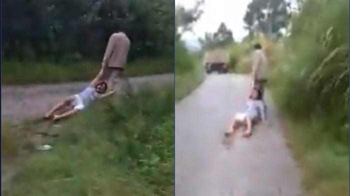 Viral video gadis 18 tahun diseret kakaknya di jalan beraspal, korban menangis minta ampun hingga meraung-raung kesakitan.