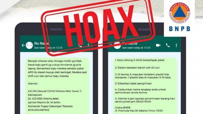 BNPB: Donasi Kaos Oblong Bekas untuk Petugas Medis dan Relawan Satgas Covid-19 Hoaks