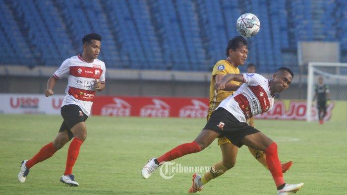 Bhayangkara FC menghadapi Madura United pada lanjutan BRI Liga 1 2021-2022 di Stadion Si Jalak Hatupat, Soreang, Kabupaten Bandung, Jawa Barat, Sabtu (18/9/2021). Pertandingan dimenangkan Bhayangkara FC 1-0 lewat gol Ezechiel Ndouasel. (TRIBUN JABAR/GANI