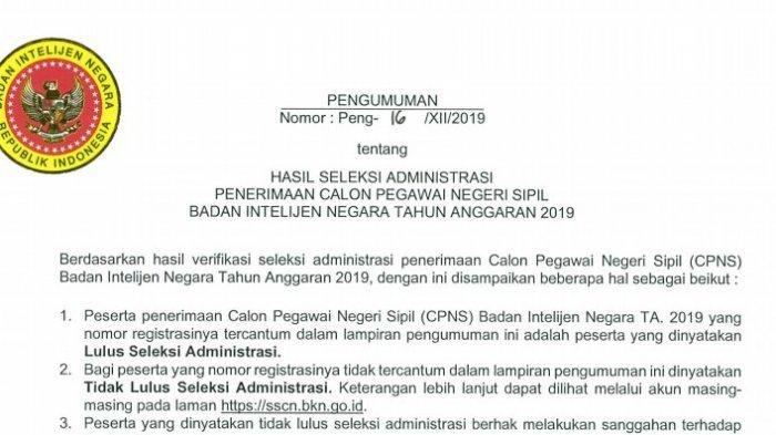 Badan Intelijen Negara telah merilis nama-nama yang lolos seleksi administrasi CPNS 2019