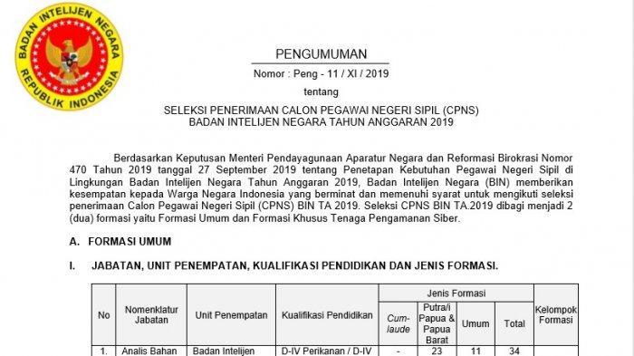 Badan Intelijen Negara Rilis 721 Formasi CPNS 2019, Cek Lowongan dan Kualifikasi Pendidikanya