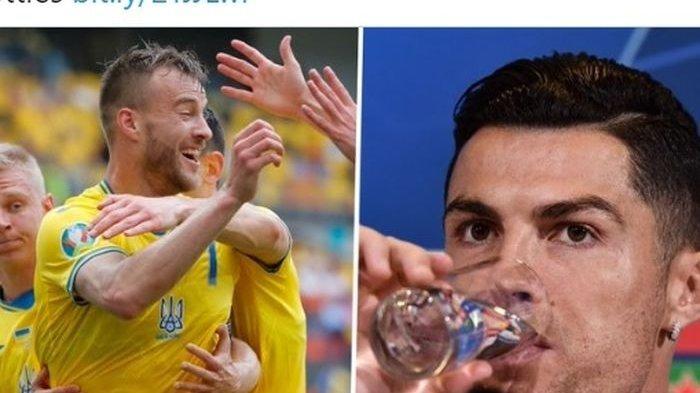 Kocak, Aksi Bintang Ukrania dan Lukaku Ejek Drama Perseteruan Cristiano Ronaldo Vs Coca-cola