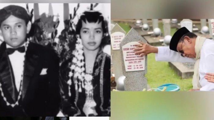 Foto pernikahan BJ Habibie dan Ainun serta ekspresi kesedihan BJ Habibie di pusara almarhumah Ainun.