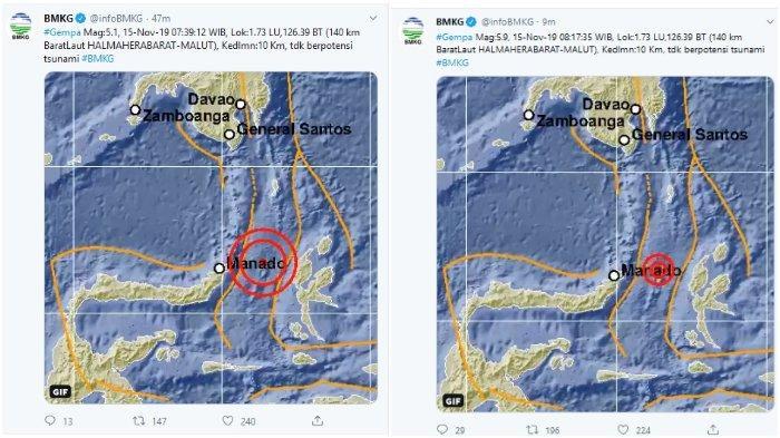 UPDATE BMKG Catat 6 Kali Gempa Terjadi 6 di Halmahera Barat Maluku Utara Hari Ini