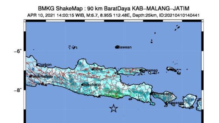 Gempa M 6,7 Sabtu Siang Berpusat di 90 Km Barat Daya Kabupaten Malang