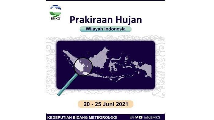 Info BMKG: Cuaca Minggu 20 Juni 2021, Hujan Lebat Potensi di 18 Wilayah Ini