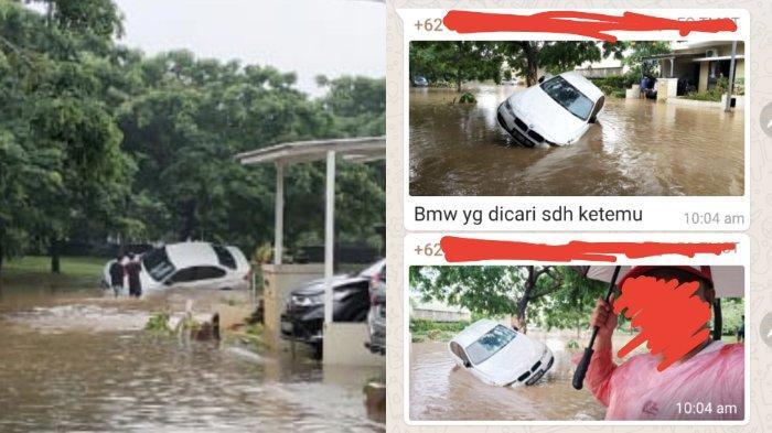 VIRAL Mobil BMW Putih Hanyut Saat Banjir, Warga Berhasil Temukan, Mobil Nyangkut di Pohon