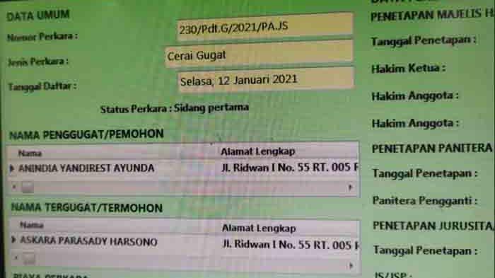 Nindy Ayunda mengajukan gugatan cerai Askara Parasady Harsono ke Pengadilan Agama Jakarta Selatan.