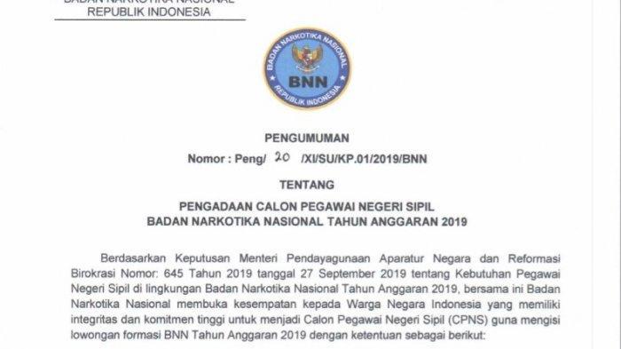BNN Rilis Formasi CPNS 2019, Total Ada 154 Formasi, Berikut Formasi untuk Lulusan SMA