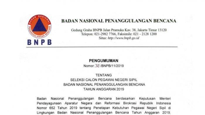 BNPB Rilis Formasi dan Kebutuhan dalam CPNS 2019, Cek Daftarnya