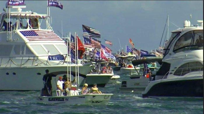 Jelang Pilpres AS, Kampanye Terbuka di Tengah Pandemi, Ada yang Gunakan Kapal Boat di Florida