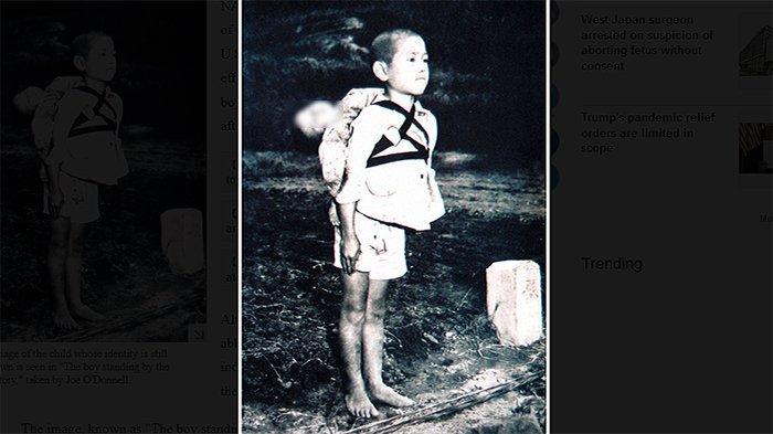 Bocah dari Nagasaki yang menggendong adiknya yang telah meningga dunia. Hingga kini tidak diketahui siapa nama bocah tersebut. (Foto Almarhum Joe O'Donnell, Fotografer Angkatan Laut AS)