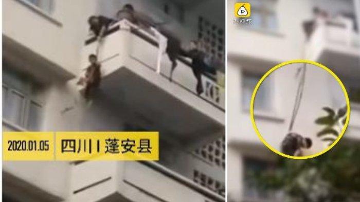 VIRAL Video Pasangan Lansia Ikat Cucunya untuk Menyelamatkan Kucing yang Terjebak di Tepi Balkon