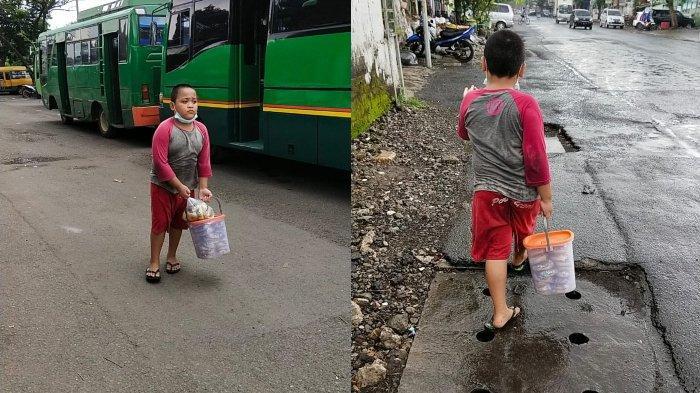 Bocah viral bernama Andra yang kepergok istirahat di dalam ATM, rupanya sehari-hari berjualan donat buatan orang tuanya.