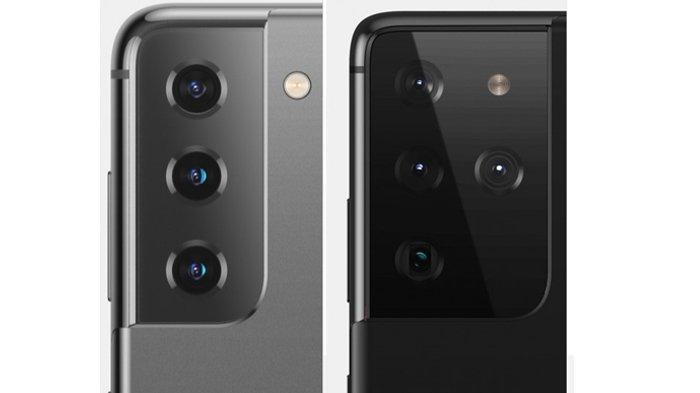 Bocoran Kamera Galaxy S21 (kiri) dan kamera S21 Ultra (kanan)