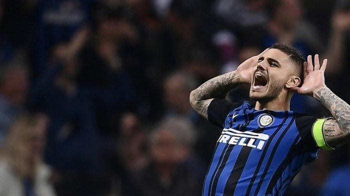 Bomber Inter Milan, Mauro Icardi, melakukan selebrasi setelah mencetak gol ke gawang Juventus pada laga lanjutan Liga Italia