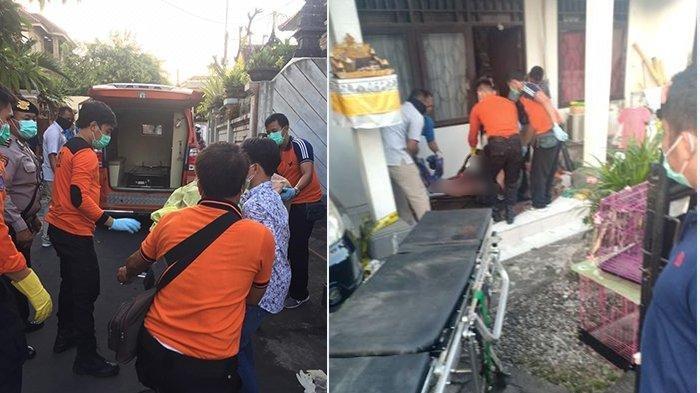 BPBD Badung saat mengangkat korban gantung diri, untuk dibawa ke RSUP Sanglah