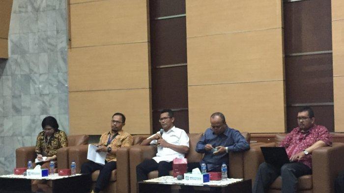 Konferensi pers BPJS Kesehatan soal 5,2 juta peserta PBI yang dinonaktivkan di kantor pusat BPJS Kesehatan, Jakarta Pusat, Rabu (31/7/2019).