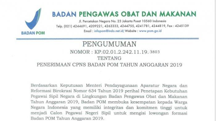 BPOM Rilis 277 Formasi CPNS 2019, Simak Formasi dan Kualfikasi Pendidikan yang Dibutuhkan