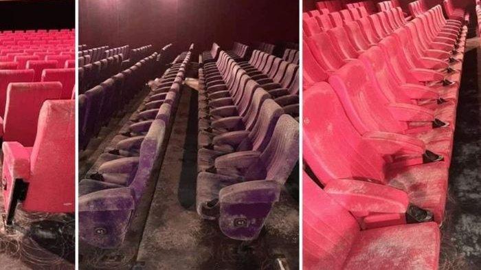 Kursi bioskop yang berjamur.