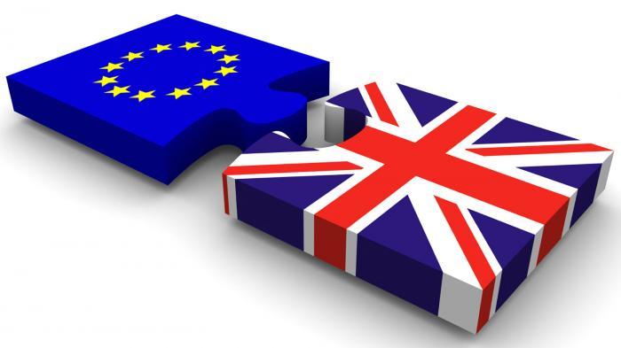 Ilustrasi yang menggambarkan keluarnya Inggris dari Uni Eropa.
