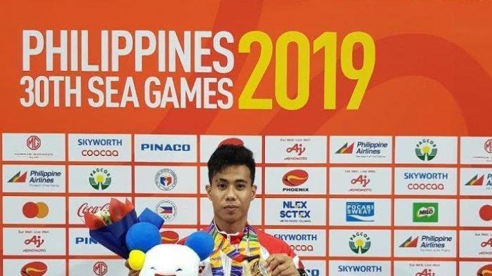 Brigadir Satu (Briptu) Andi Try Sandi Saputra S, personel Polda Sulsel meraih emas di SEA Games 2019 Filipina.
