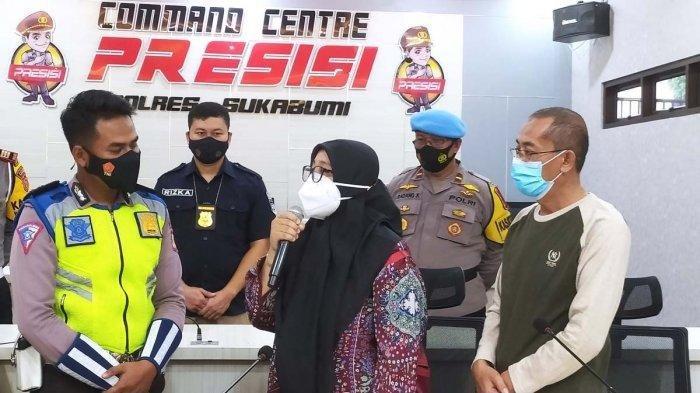 Briptu Febio Marcelino (kiri) yang dimaki-maki pria dan wanita di Pos Penyekatan Benda, Cicurug, Kabupaten Sukabumi, Jawa Barat. Ia menerima permintaan maaf kedua pelaku.
