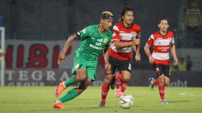 Penyerang Bhayangkara FC Bruno Matos saat tampil di laga kontra Madura United. Dok: Bhayangkara FC