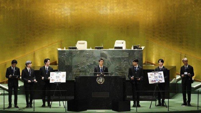 BTS saat berpidato di hadapan petinggi dunia dalam Pertemuan Majelis PBB, Senin (21/9/2021).