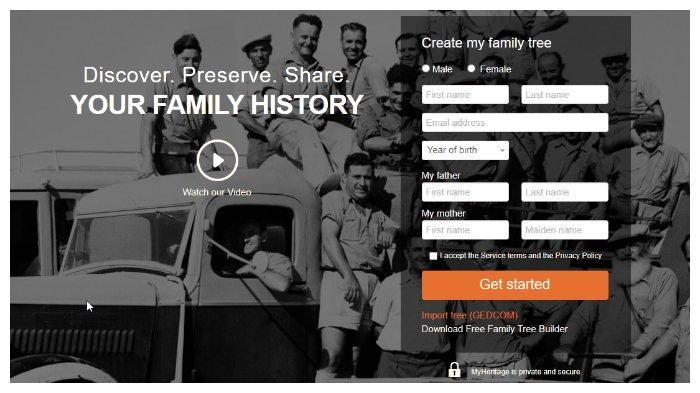 Buat Akun MyHeritage.