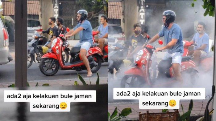 VIRAL Aksi Bule Ngegas Motor hingga Berasap di Bali, Tetap Cuek meski Sudah Ditegur Pengendara Lain