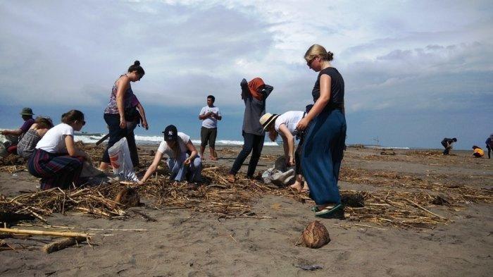 Bule-bule Asal Jerman Ikut Kerja Bakti Bersih Sampah di Pantai Parangkusumo Jogja