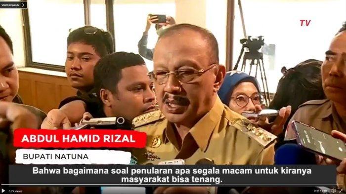 Bupati Natuna, Kepulauan Riau, Sumatera Barat, Abdul Hamid Rizal buka suara terkait warganya yang memilih mengungsi. Diketahui, sejumlah Warga Negara Indonesia (WNI) dari Kota Wuhan, China dievakuasi menuju Natuna pada Minggu (2/2/2020) lalu.