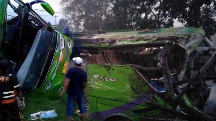 Bus terguling di Ciater Subang