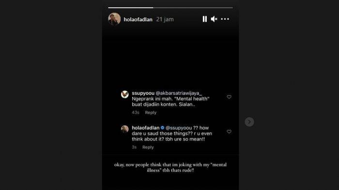 caption: Fadlan Holao menanggapi netizen yang menganggap aksinya settingan belaka