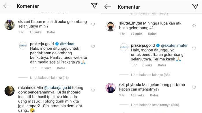 tangkapan layar di kolom komentar unggahan Instagram Kartu Pra Kerja, @prakerja.go.id.
