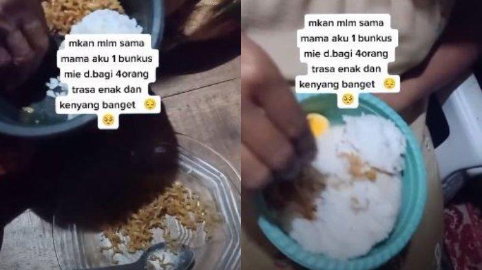 Viral Makan Mie Satu Bungkus Dibagi Lima untuk Satu Keluarga