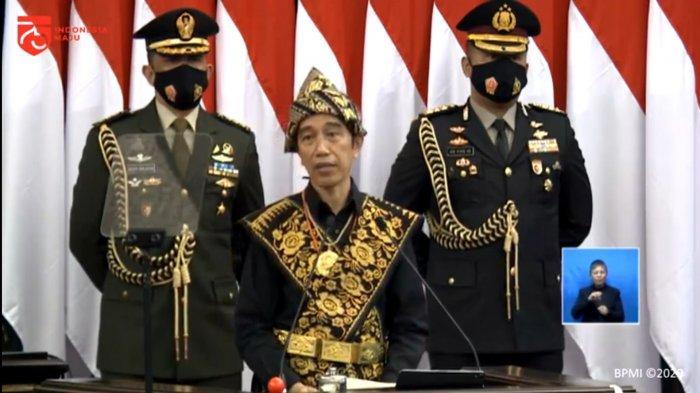 Presiden Joko Widodo (Jokowi) saat pidato sidang tahunan MPR-RI dan sidang bersama DPR-RI dan DPD-RI Tahun 2020 di Gedung Parlemen MPR/DPR, Senayan, Jakarta Pusat, Jumat (14/8/2020).