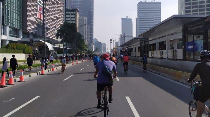 Minggu (21/6/2020) pagi, Hari Bebas Kendaraan Bermotor (HBKB) atau Car Free Day (CFD) kembali digelar di sepanjang Jalan Sudirman - MH Thamrin, Jakarta Pusat.