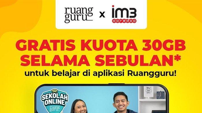 cara aktifkan kuota gratis 30gb indosat ooredoo untuk akses ruangguru