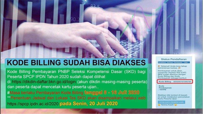 Tata Cara Pembayaran Kode Billing untuk SKD Peserta SPCP IPDN Tahun 2020