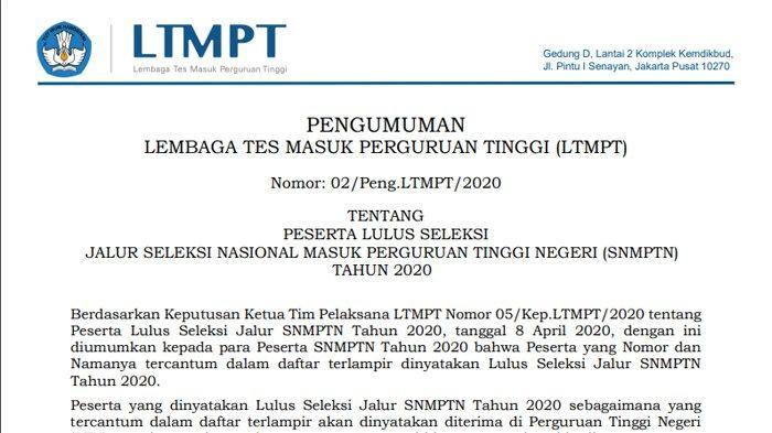 Cara Melihat Pengumuman SNMPTN 2020, Akses di pengumuman.snmptn.ac.id