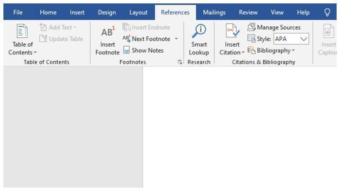 Cara membuat Footnote di MS. Word-Pilih Menu Reference.