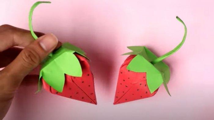 Cara Membuat Origami Buah Strawberry untuk SD Kelas 4-6, Program Belajar dari Rumah di TVRI