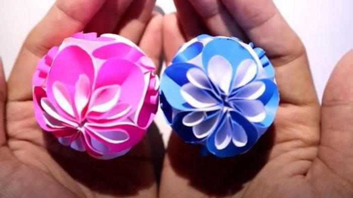 Cara Membuat Origami Bunga Cantik Berbentuk Bola, Materi SD Kelas 4-6 di TVRI, Kamis 7 Mei 2020.