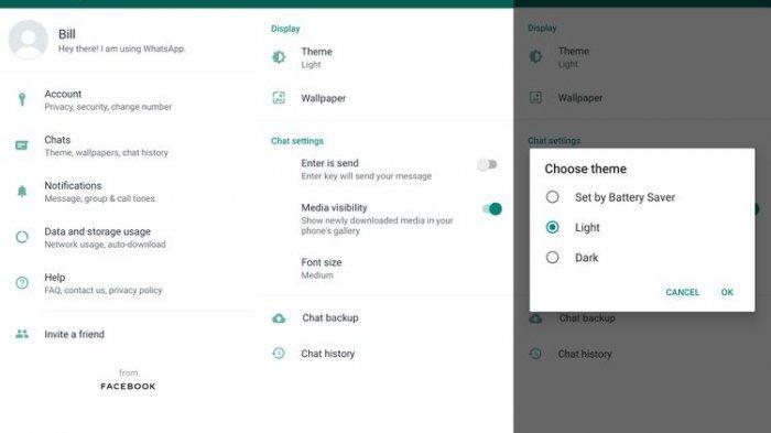 Cara mengaktifkan tampilan serba hitam di WhatsApp (Kompas.com/Bill Clinten)