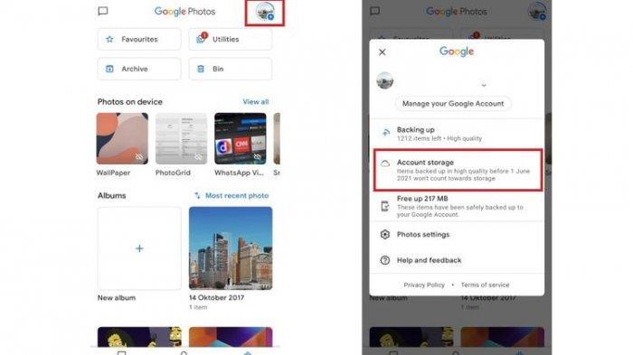 Cara mengecek sisa kapasitas penyimpanan Google Photos.