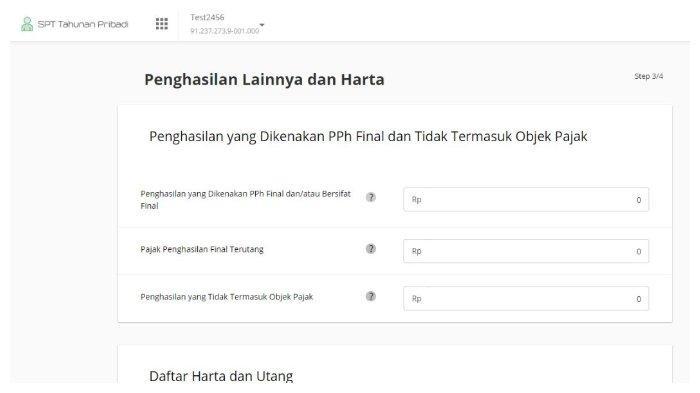 Cara mengisi SPT Tahunan Pribadi di OnlinePajak.(Tangkap Layar online-pajak.com)